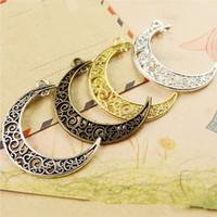 Argento antico / Bronzo antico / Argento placcato / Oro / Antichi Golden Moon Due Loops Ciondolo / Trova accessori fai-da-te Creazione di gioielli