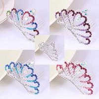 En forma de corazón de cristal Mini Tiara Crown para mujeres niñas niños Prom Hair Combs tocado de la boda Dama de honor accesorios de la joyería del pelo