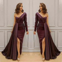 Sexy One Shoulder Long Sleeve Dresses Evening Wear Com Overskirt Lace Applique Side Split Mermaid Prom Dress New Arrival Celebrity Dresses