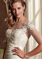 Yeni Tasarım Aplike Beyaz Düğün Wrap Kısa Ceket Için Düğün Bolero Ile Yarım Kollu V Geri Düğün Ceket Aswp08