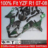 8Gifts 23Colors Injection para YAMAHA YZF1000 YZF-R1 2007 2008 YZF R 1 37NO69 verde mate YZFR1 07 08 YZF 1000 YZF R1 07-08 YZF-1000 Carenado