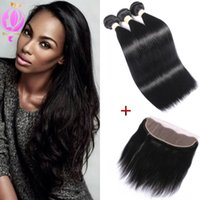 Lace Frontal Closure With Bundles Brazilian Straight Virgin ...