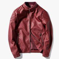 Оптовая-MCCKLE осень зима плюс размер M-4XL кожаная куртка мужская тонкий тип повседневная PU мотоцикл пальто Мужская верхняя одежда