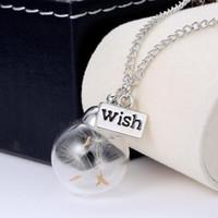 Colliers de pissenlit de souhaits en verre boule collier collier pendentifs avec 18 pouces chaîne femmes mode bijoux cadeau