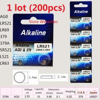 200 stücke 1 los AG0 LR521 LR69 379 379A SR521 L521 LR63 1,55 V Alkalische Knopfzelle Knopfzellenbatterien Karte Freies Verschiffen