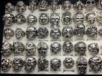 Atacado 50 pçslote Do Vintage Do Crânio Esqueleto Anéis Anéis Do Punk Estilo Misto Anéis Para O Homem