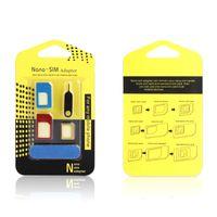 Yeni Alüminyum Metal SIM Kart Adaptörü Nano İnce Kart Perakende SIM Kart Pin İçin Tüm Cep Telefonu Cihazlarla in 1 Micro Standart İnce 5'e