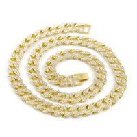 Men' s Full Iced Out Yellow Gold Finish Miami Cuban Link...