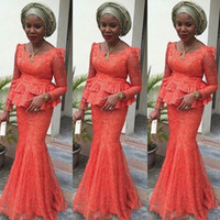 Nigerian African Lace Long Formal Evening Party Dresses Long...