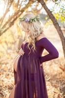 جديد وصول الأمومة ثوب الشيفون سبليت الجبهة ماكسي التصوير الفستان للصور تبادل لاطلاق النار