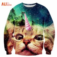 Alisister 2017 New Fashion Uomo / donna Unicorn Cat Hoodie Inverno / autunno 3d Galaxy Felpe Vestiti Harajuku Animale Felpa 17310
