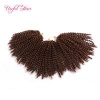 Venta al por mayor 8inch Malibob crochet pelo para mujeres negras Kinky Curly marley trenzado Extensión de cabello sintético marlybob Crochet trenzas Cabello