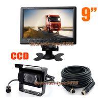 """9"""" Car Monitor de LCD para Truck Bus Motorhome + 4Pin 18 LED IR Invertendo Camera 15M impermeável cabo grátis"""
