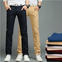 Wholesale- New Arrival Men Pants Men's Slim Fit Casual Pants Fashion Straight Dress Pants Skinny Smooth Full Length Trousers