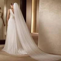 Acessórios nupciais do casamento de marfim brancos véu de noiva 3m longos véu longo do véu da catedral do véu do casamento Véus nupciais com pente