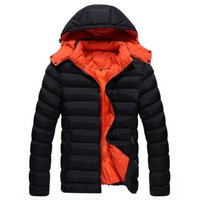 Wholesale- men winter down coat with a hood solid color fashion wadded jacket winter thickening cotton-padded jacket