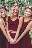 Two Pieces Country Wedding Boho Bridesmaid Dresses Burgundy Chiffon Scoop 2019 Cheap Long Party Prom Gowns Plus Size Maid of Honor Dresses