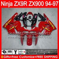 8Gifts 23Color For KAWASAKI NINJA ZX900 ZX9R 94 95 96 97 900CC 광택 레드 49HM14 ZX-9R ZX900C ZX 9 R ZX 9R 1994 1995 1996 1997 페어링 키트