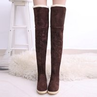 Inverno longo Fur Botas De Neve Mulheres Negras Camurça Sobre O Joelho Sapatos Femininos Tubo Botas Longas Tenis Feminino Zapatos Mujer