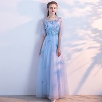 SSYFashion New Fresh Light Blue Lace Evening Dress Bride Ban...