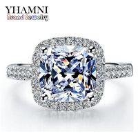 Yhamni Real 100% 925 Anéis de Prata Esterlina Atacado Inlay 3 Carat Sona Simulação CZ Anéis de Casamento para Mulheres Rh002