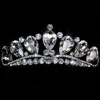 Superbe Shinny Haute Qualité Grand Strass Cristal Pageant Tiara Couronne De Mariée Accessoires Parti Princesse Reine Headpieces Livraison Gratuite
