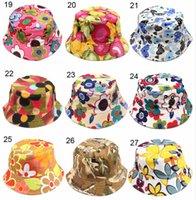 Новые 36 моделей детские ведро шляпы новая мода печати лето солнце шляпа красочные патч плоские крышки