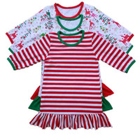 Christmas Girls Dress Striped Ruffle Baby Girls Nightwear Lo...