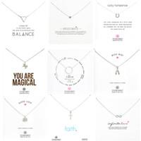 9 Styles Argent Collier DecoréRécheté Éléphant Love Wings Cross Unicorn Pendentif pour Femmes Mode Bijoux avec une carte d'argent en gros