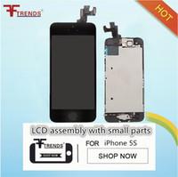 IPhone 5 5C 5 S SE için LCD Ekran Dokunmatik Ekran Digitizer Meclisi ile Ev Düğme ve Ön Kamera Flex Kablo Kulaklık 100% Testi