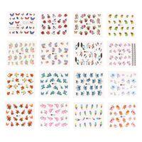 Wholesale- 50 Blätter / Satz 5 * 6,5 cm Mischblumen-Wassertransfer Nagel-Aufkleber-Abziehbild-Kunst spitzt Dekoration Maniküre Aufkleber Ongles
