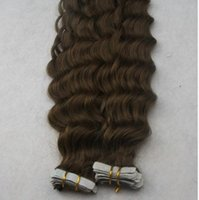 "Top Quality 14"" - 30"" #4 Dark Brown Deep Curly Tape ..."