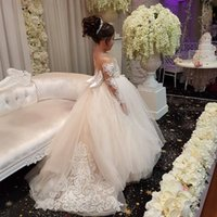 Sheer Long Sleeves Flower Girl Dress with Bow Lovely Puffy Tulle Ball Gown Pageant Dress Christmas Dress Lace Applique Flower Girls Dresses