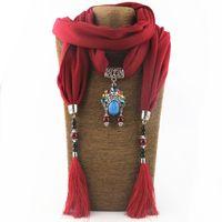 Sciarpe della collana dei monili della sciarpa del pendente del fiore della lega della sciarpa del nappe di infinito lungo dell'annata per le donne