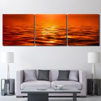 3 piece Printed landscape sunset sea yellow Painting Canvas ...