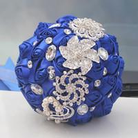 Kraliyet Düğün Buketleri Gül Yapay Tatlı 15 Quinceanera Buket Kristal Ipek Kurdele Yeni Buque De Noiva 37 Renkler W228-D ücretsiz kargo