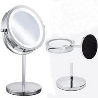 7 pouces LED Lights Makeup Mirror Desktop Double Side Mirror 10X Grossissement Nouveau Style Salle De Bains Miroir Cosmétique