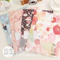 الجملة - 3 مغلفات + 6 ورق إلكتروني على الطريقة اليابانية أزهار الكرز الرومانسية هدية مغلف / ورقة جيب / وسادة الرسالة