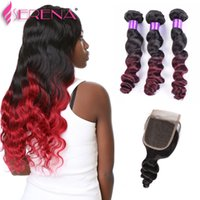 Hot Sale Omber Color 1b 99j Weft Hair Extensions Dark Wine F...