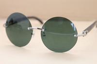 Famosa Marca Óculos De Sol Preto Chifre De Búfalo Óculos Retro Redondo Sem Aro Do Vintage Óculos De Sol 3524012 Moda Óculos De Sol 58mm com Cas Original