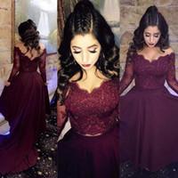 Vestido de fiesta de manga larga de encaje Vino Borgoña Ver a través de graduación vestido de fiesta de noche más tamaño por encargo
