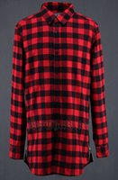 Wholesale- Extended Red Plaid Longline Shirts Mens Fashion L...