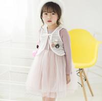 Baby Kinder Kleidung Gute Qualität Herbst Neue Mädchen Cartoon Lace Weste + langärmliges Kleid 2 Stück Sets Kleidung Sets