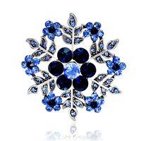 خمر الأزرق زهرة الثلج الزينة للنساء قبعات فساتين بلورات جولة الصدار العتيقة الفضة مطلي التركية بروش دروبشيب