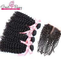 Mais vendido!!! Pacote de 4 peças com fechamento cabelo encaracolado cabelo 100% Malásia Indiana Peruana Human Hair 2 Way (4 * 4) Papel Frete Grátis