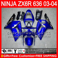 8Gifts 23Colors Bodywork For KAWASAKI NINJA ZX- 6R 03- 04 ZX- 6...