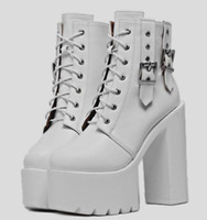 Punk shoes Winter Shoes Woman ankle boots Thick High Heels m...
