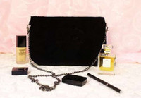 With Fashion black chain makeup bag famous logo luxury party...