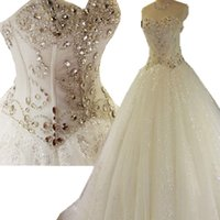 Beaded Crystal Sweetheart Ball Gown Wedding Dress Lace Up 20...