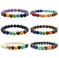 Hot Multicolor 7 Chakra Bracelet Men Lava Healing Balance Be...